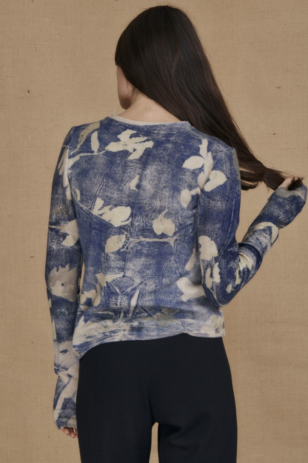 eco-print wool sweater CARA blue - 4