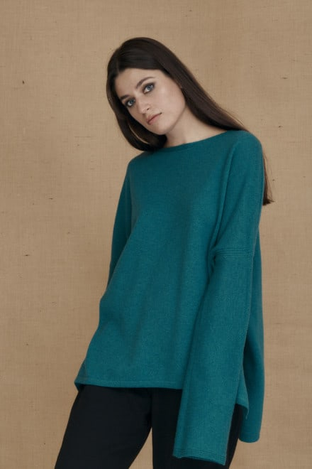 Teal blue ALASKA oversized wool sweater - 1