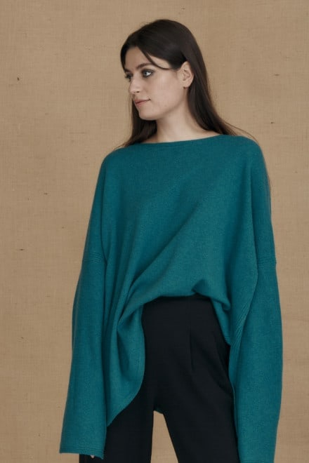 Teal blue ALASKA oversized wool sweater - 2