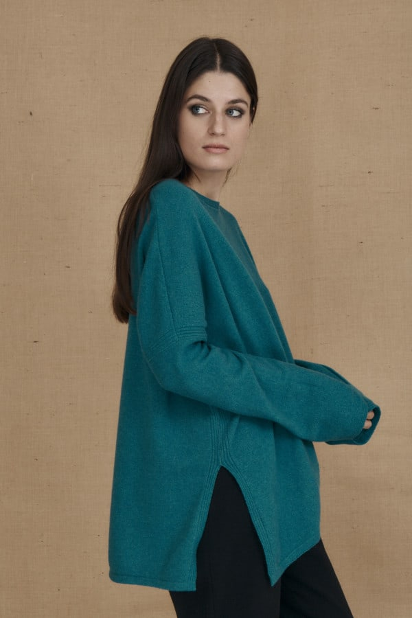 Teal blue ALASKA oversized wool sweater - 3