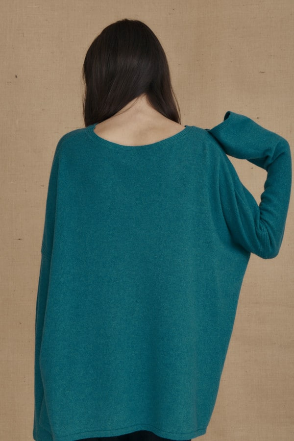 Teal blue ALASKA oversized wool sweater - 4