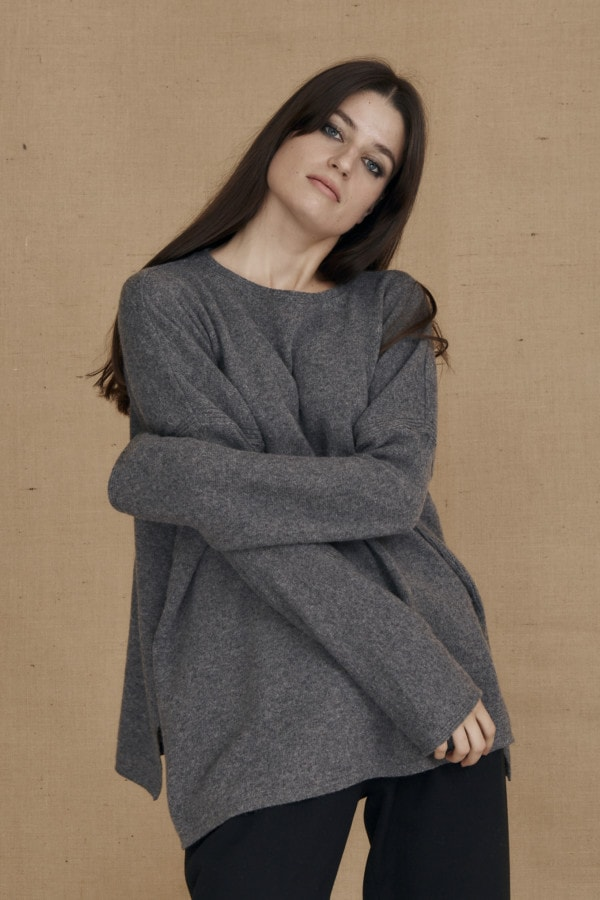 Gray ALASKA oversized wool sweater - 1