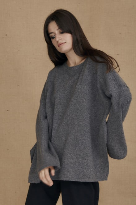 Gray ALASKA oversized wool sweater - 2