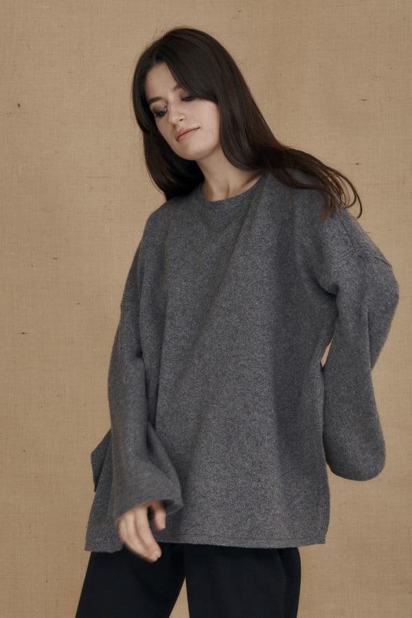 Gray ALASKA oversized wool sweater - 2