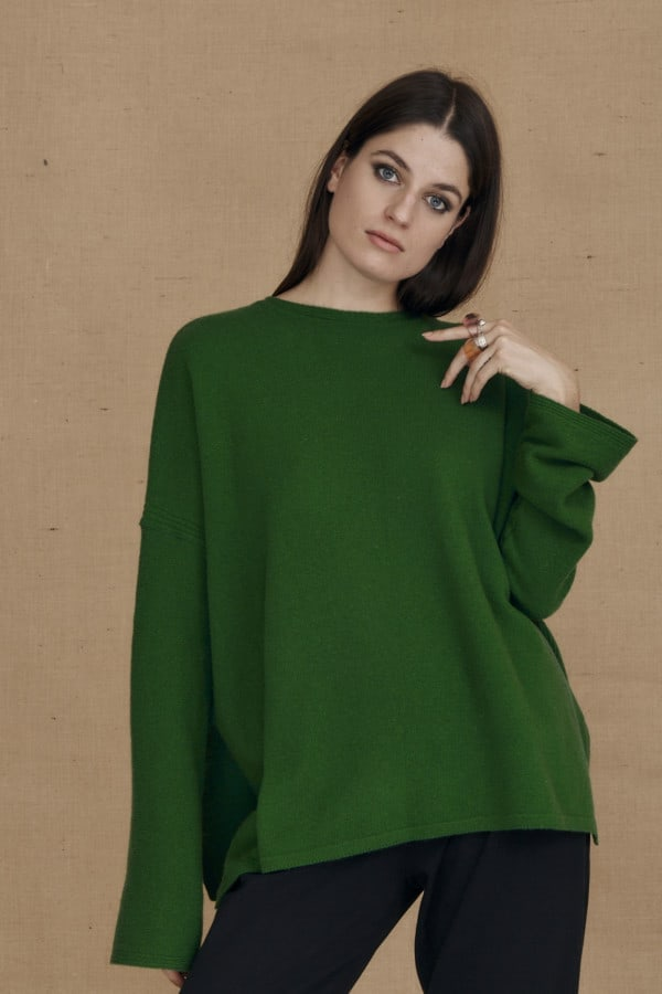 Oversized wool sweater green ALASKA - 1