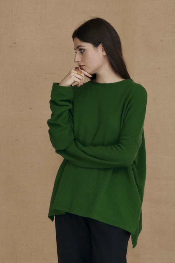 Oversized wool sweater green ALASKA - 2