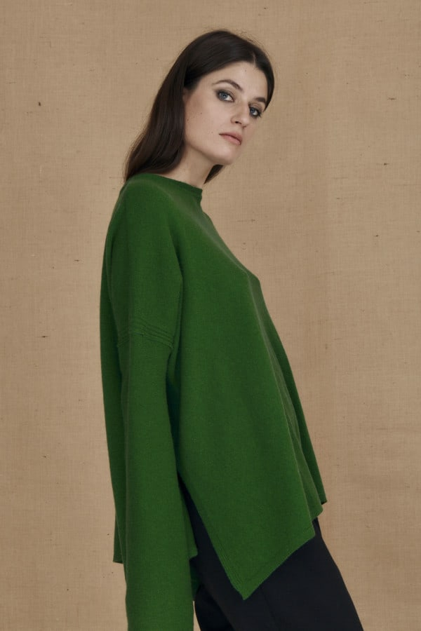Oversized wool sweater green ALASKA - 3