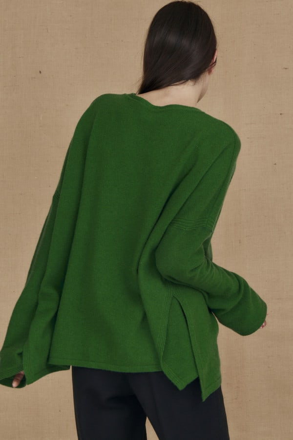 Oversized wool sweater green ALASKA - 4
