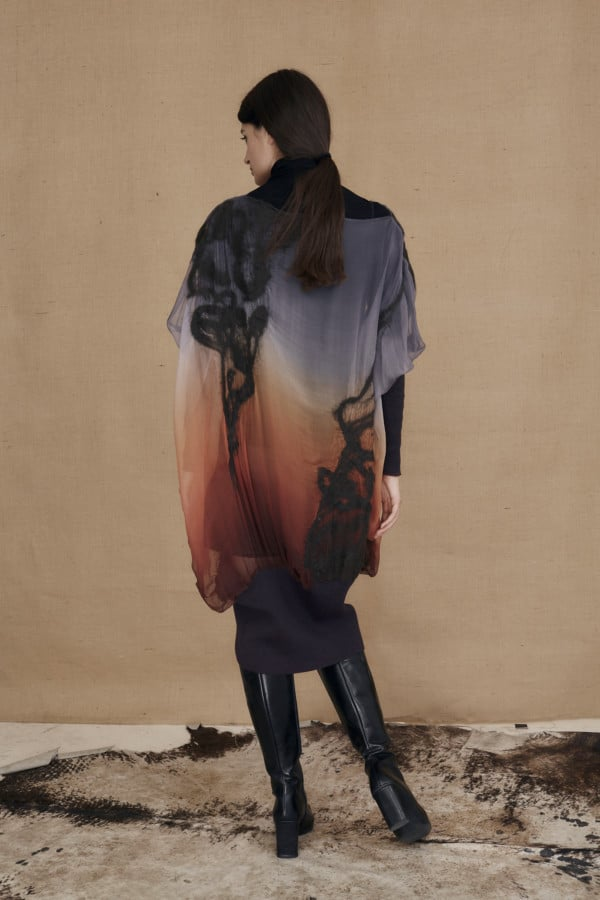 Oversized tunic dress in hand-painted silk and wool GANSU- 4
