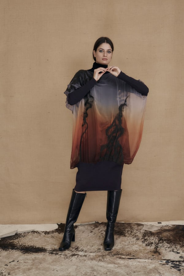 Oversized tunic dress in hand-painted silk and wool GANSU - 2