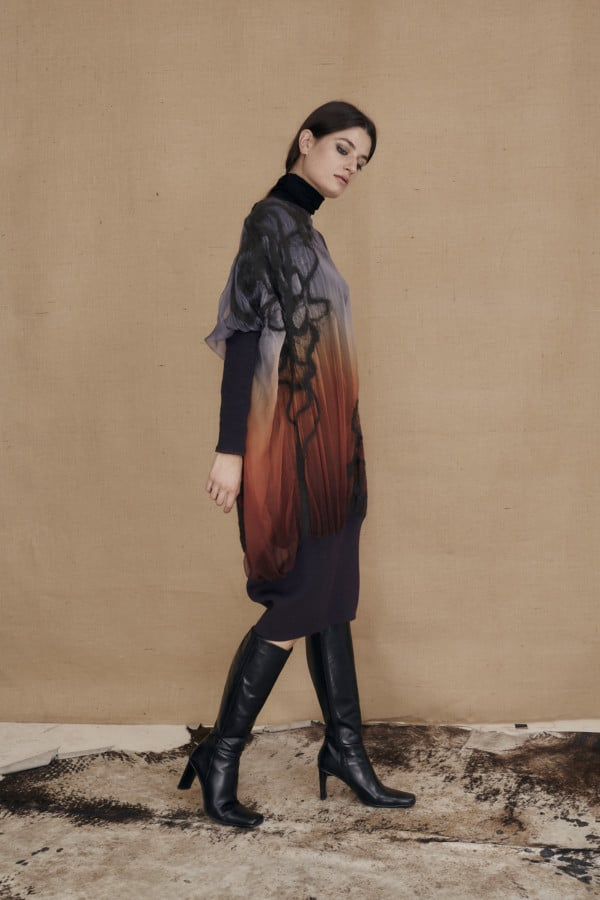 Oversized tunic dress in hand-painted silk and wool GANSU - 3