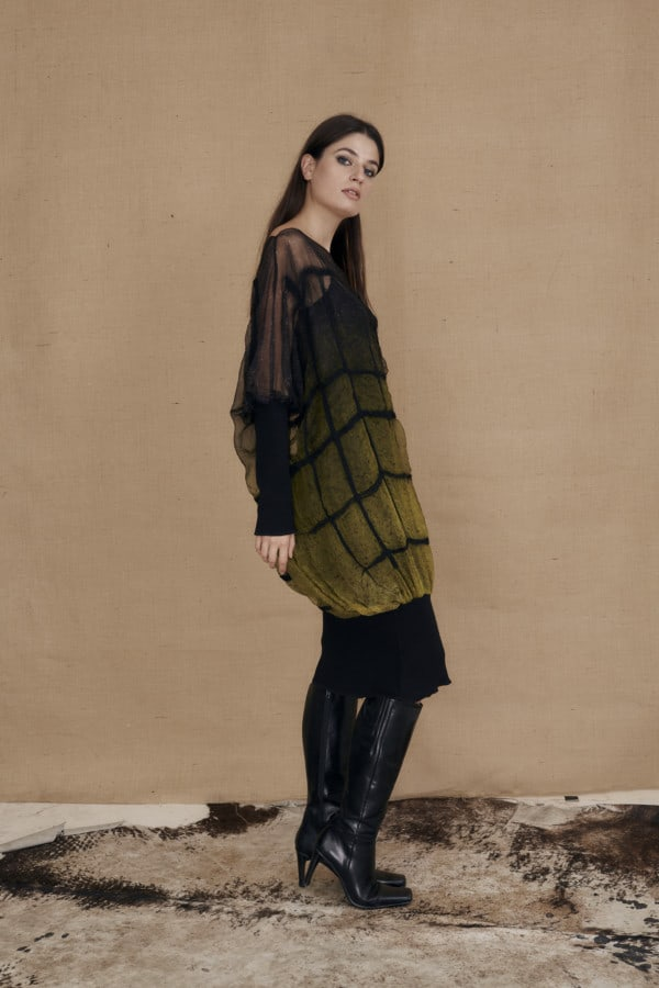 Hand-painted silk and wool oversized tunic dress KLIMT - 2