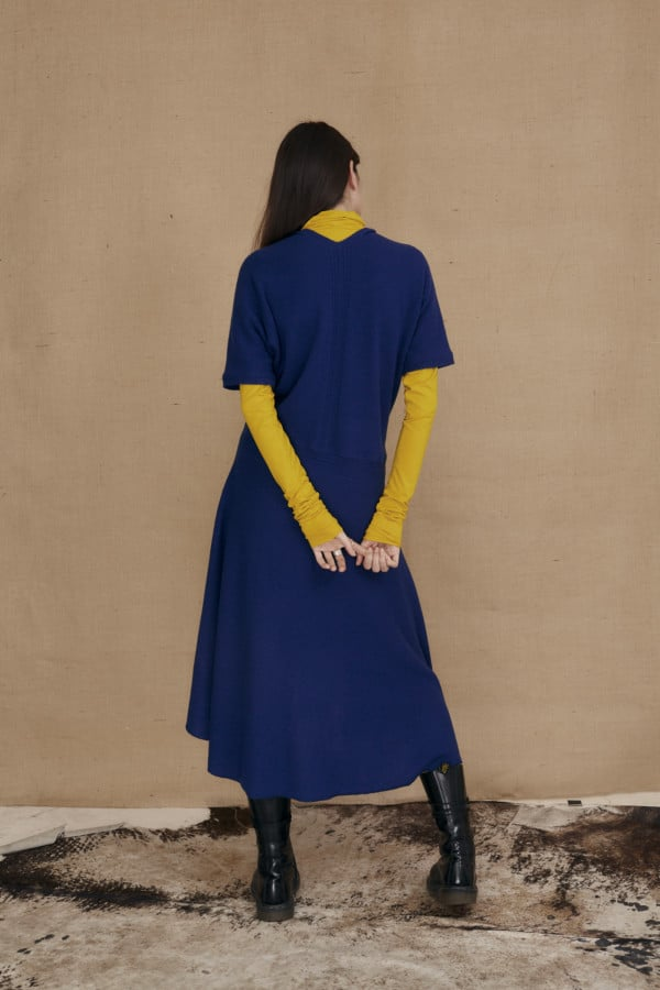 Cobalt wrap-around wool flared dress HUA - 4