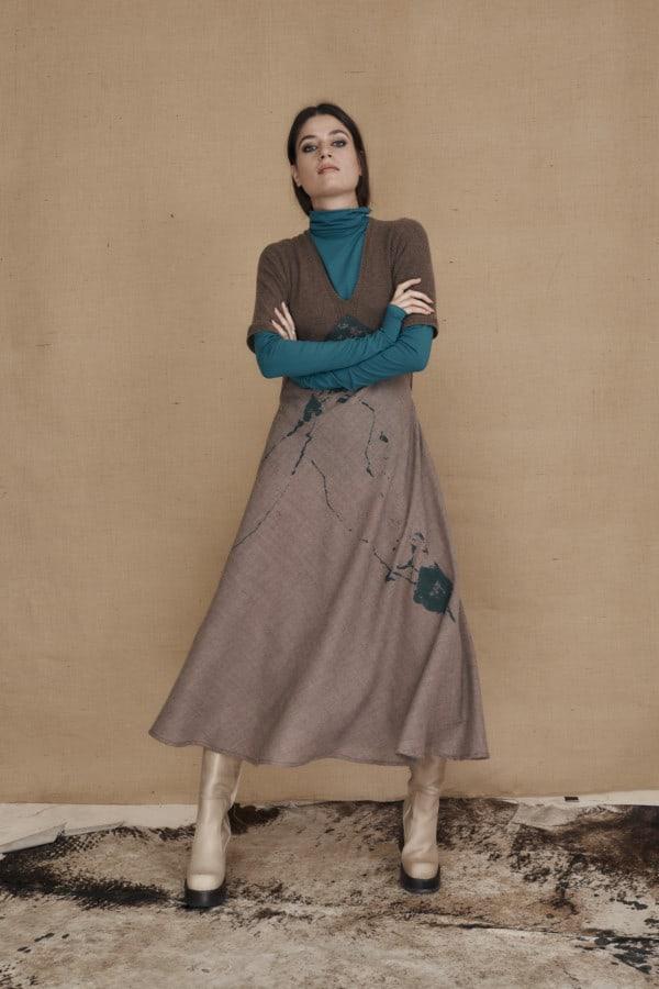 Mid-length flared wool dress MARTA - 3