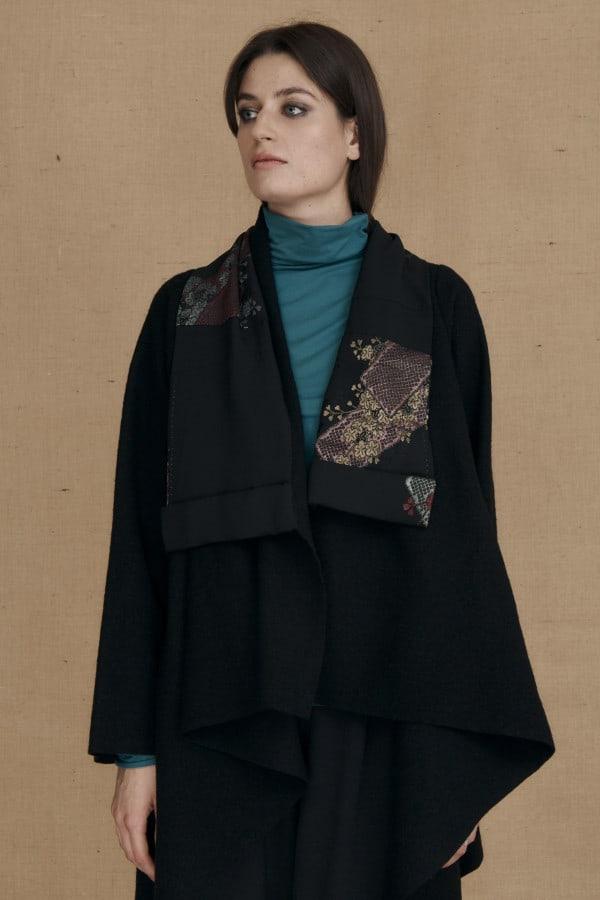 Boiled wool kimono jacket black DAI - 1