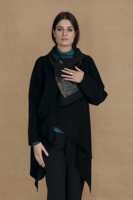 Veste kimono en laine bouille DAI noir - 2