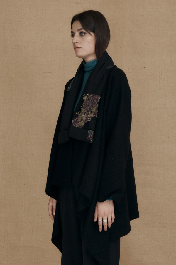 Boiled wool kimono jacket black DAI - 4