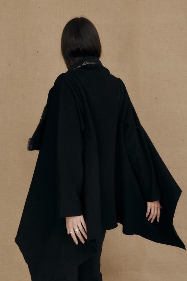 Veste kimono en laine bouille DAI noir - 5