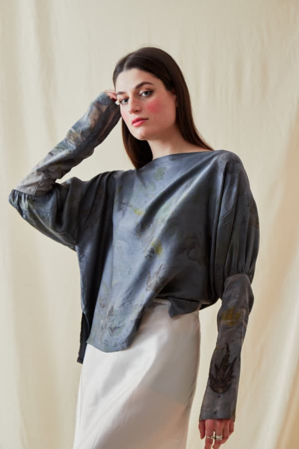 Eco-print silk satin blouse HELOISE - 1