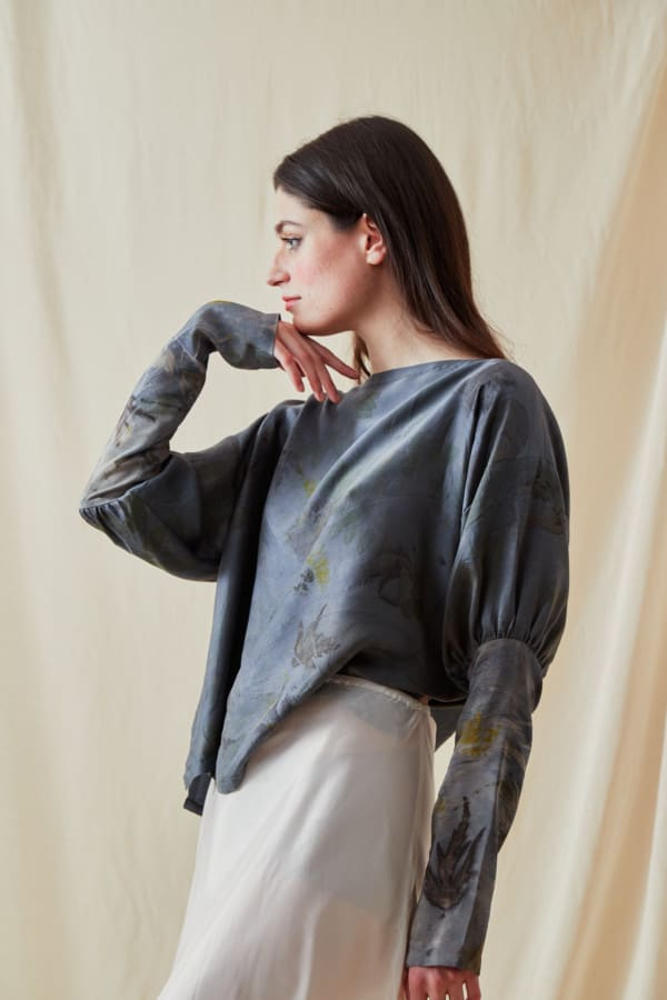 Eco-print silk satin blouse HELOISE - 3