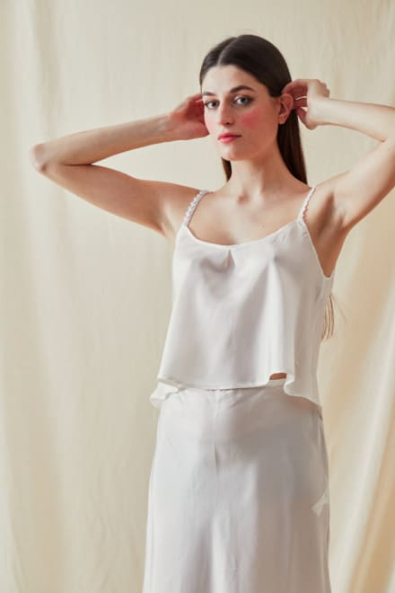 Viscose satin camisole LEA White - - 1