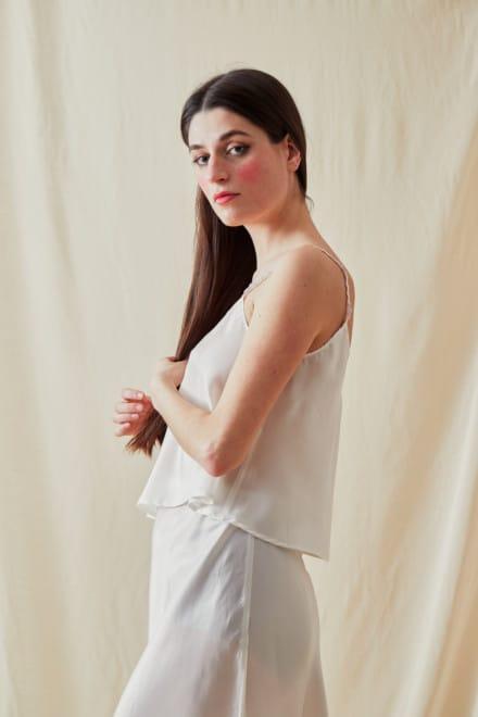 Viscose satin camisole LEA White - 2