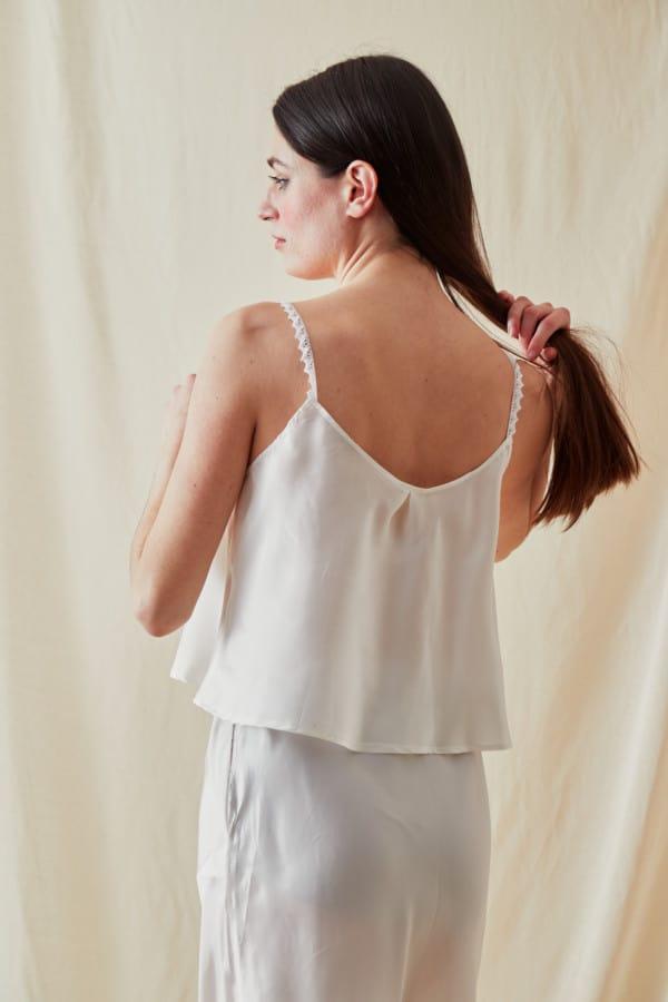 Viscose satin camisole LEA White - 3