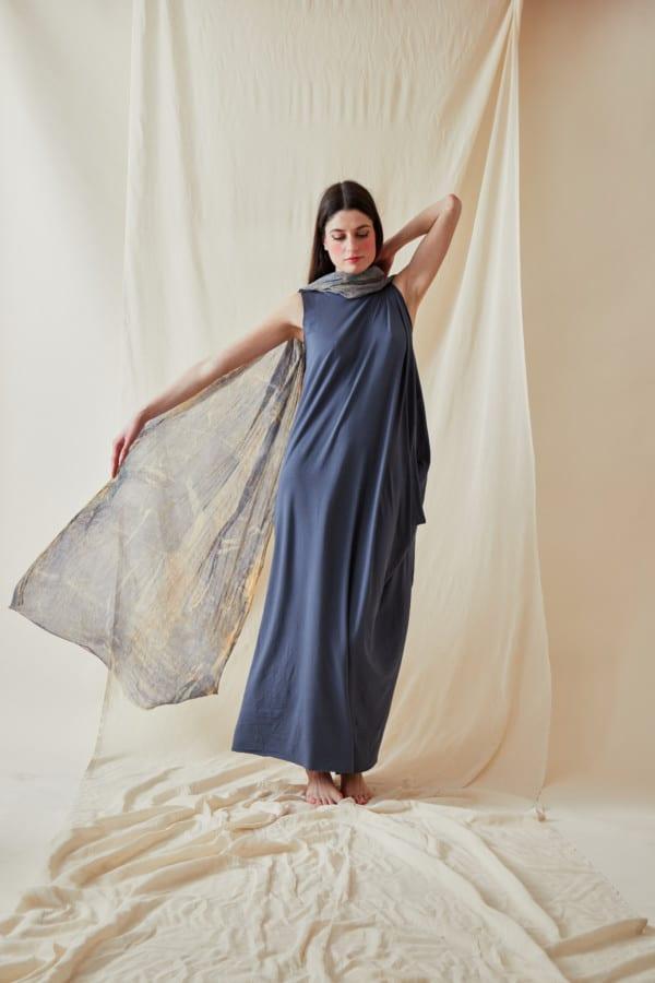 Hand printed silk shawl CORFOU Blue - 1
