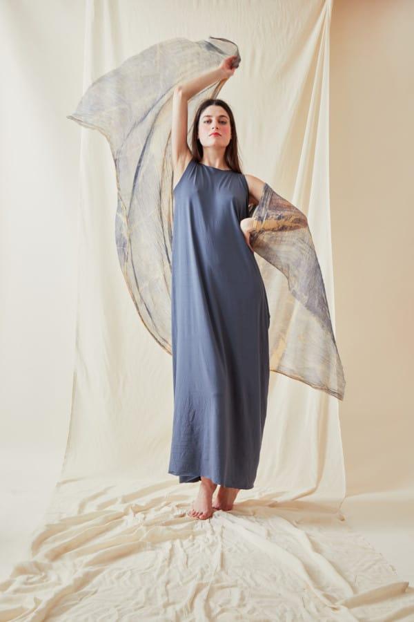 Hand printed silk shawl CORFOU Blue - 2
