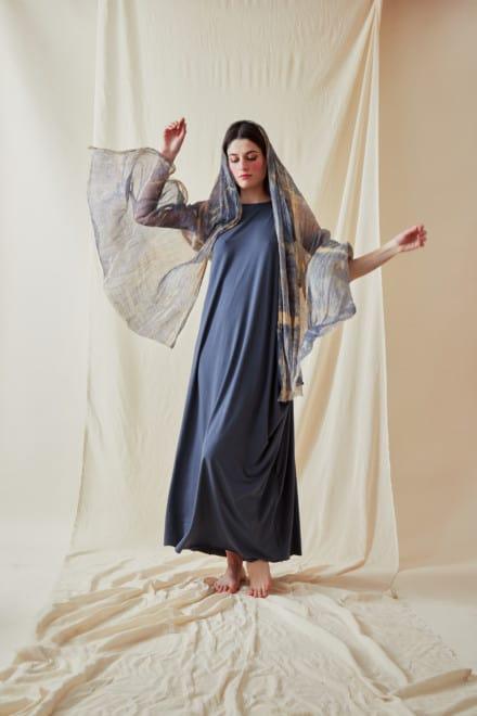 Chale en soie imprimee a la main CORFOU Bleu - 3