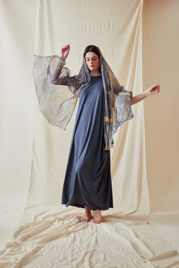 Hand printed silk shawl CORFOU Blue - 3