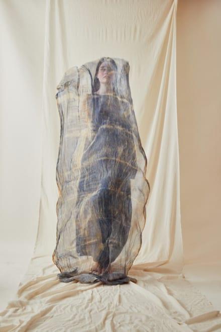 Chale en soie imprimee a la main CORFOU Bleu - 4