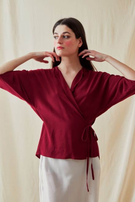 Wrap Blouse AI Crushed Raspberry - 1