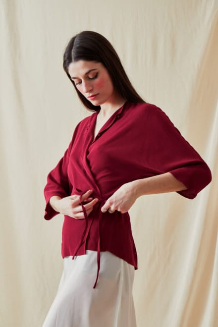 Wrap Blouse AI Crushed Raspberry - 2
