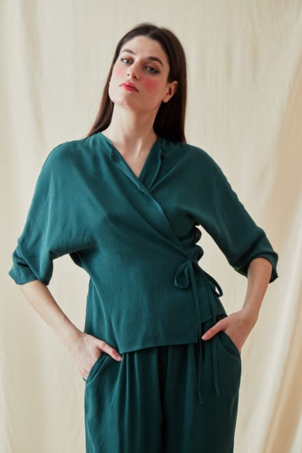 Wrap Blouse AI Veronese Green - 1