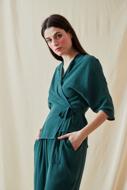 Wrap Blouse AI Veronese Green - 3