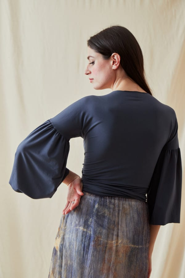 Summer viscose knit wrap top AGIA Gray-Indigo - 4