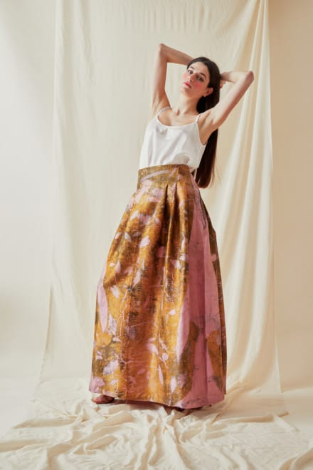 Long eco-print wild silk skirt SARIA - 2