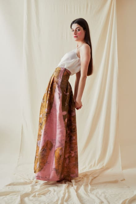 Long eco-print wild silk skirt SARIA - 3