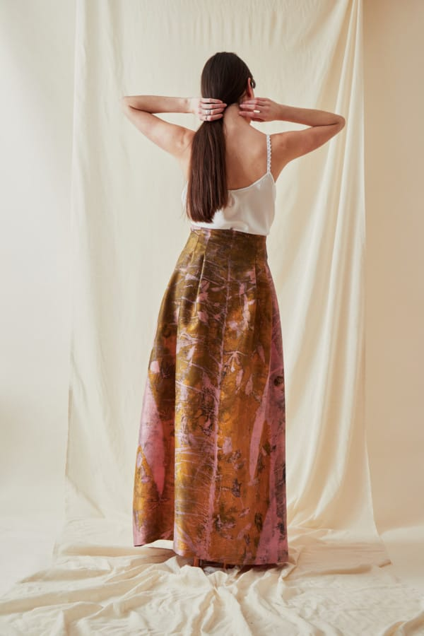 Jupe longue en soie sauvage eco-print SARIA - 4