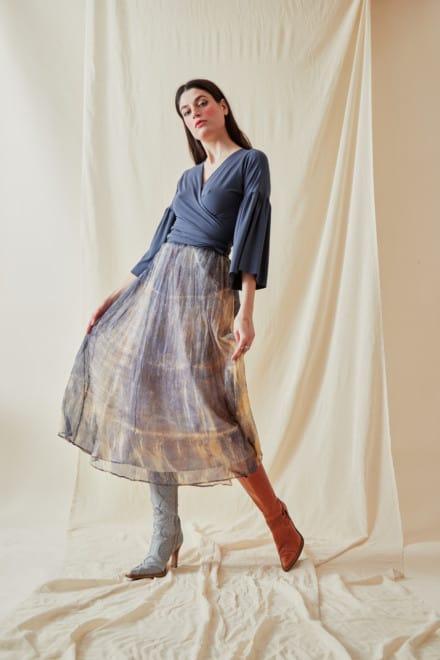 Hand-printed silk-chiffon midi skirt KNOSSOS Blue - 2