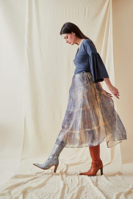 Hand-printed silk-chiffon midi skirt KNOSSOS Blue - 4