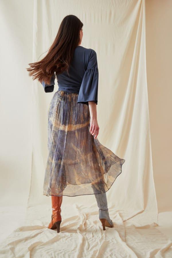 Hand-printed silk-chiffon midi skirt KNOSSOS Blue - 5
