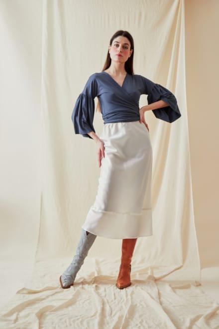 A-line midi skirt MILOS White - 1