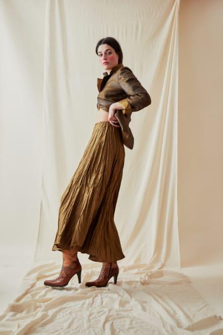 Festive Flared Mid-Length Skirt LIPSI Gold-Bronze - 2