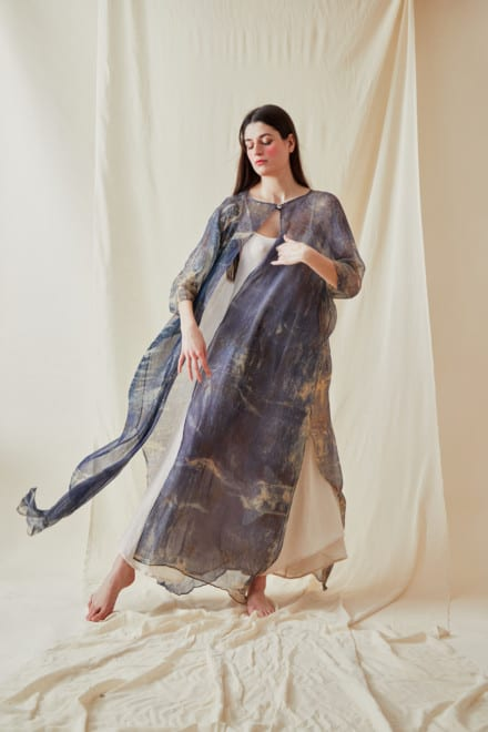 Hand Printed Silk Chiffon Kaftan Coat OLYMPE Blue - 1