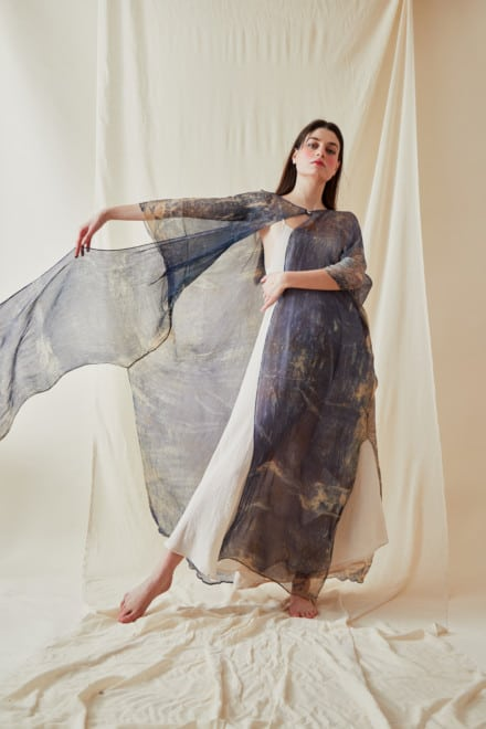 Hand Printed Silk Chiffon Kaftan Coat OLYMPE Blue - 2