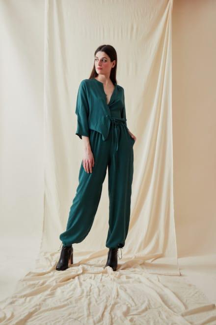 Wide and fluid pants KOZAK Veronese Green - 1