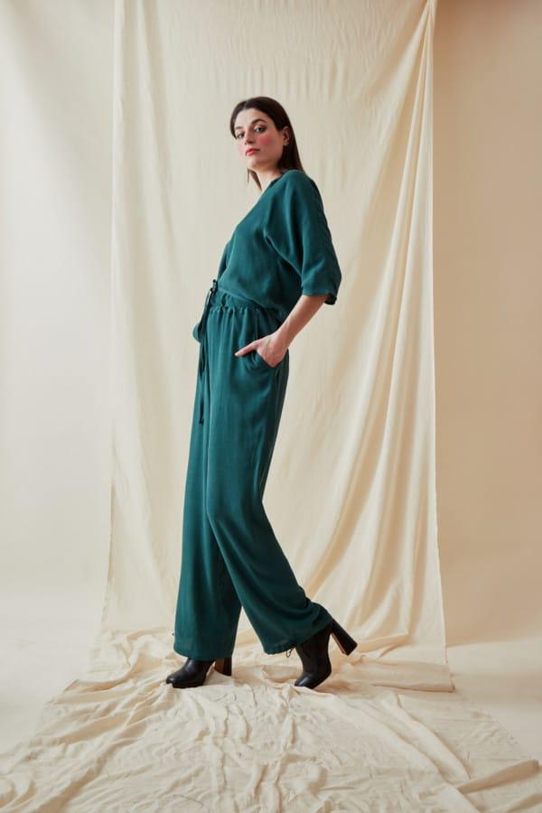 Wide and fluid pants KOZAK Veronese Green - 2