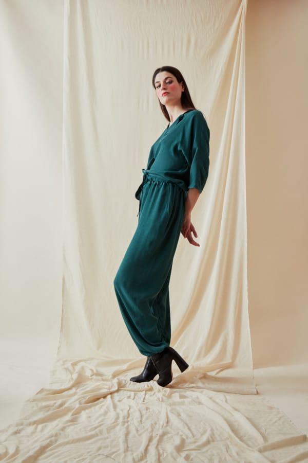 Wide and fluid pants KOZAK Veronese Green - 3